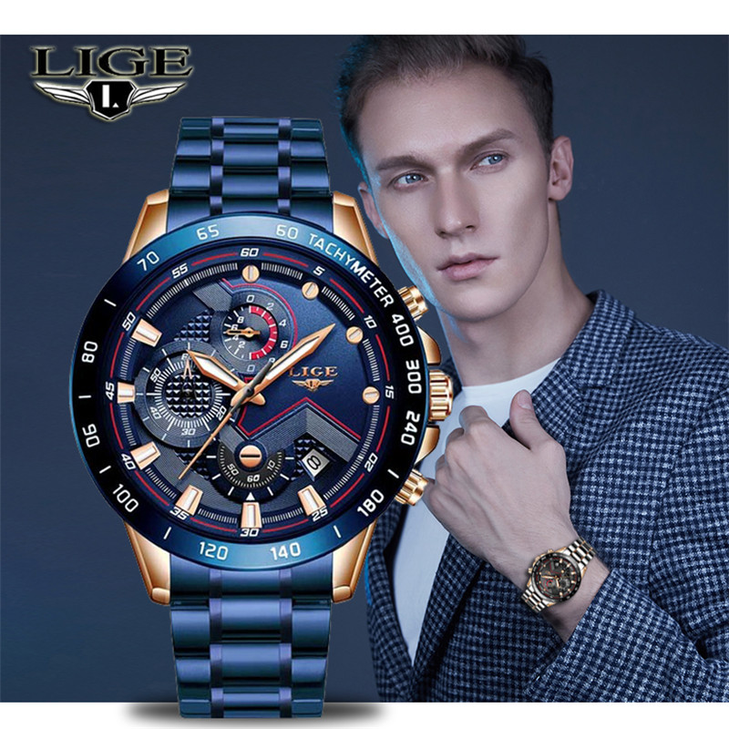 LIGE New Blue Fashion Business Clock Mens Watches Top Brand Luxury All Steel Chronograph Quartz Gold Watch Men Relogio Masculino