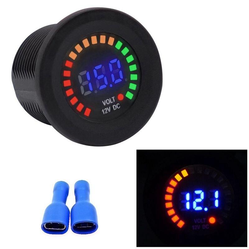 Waterproof DC12V RD Digital Voltmeter Three Wires Vehicles Motorcycles Boat Cars Voltage Panel Meter LED Display Color