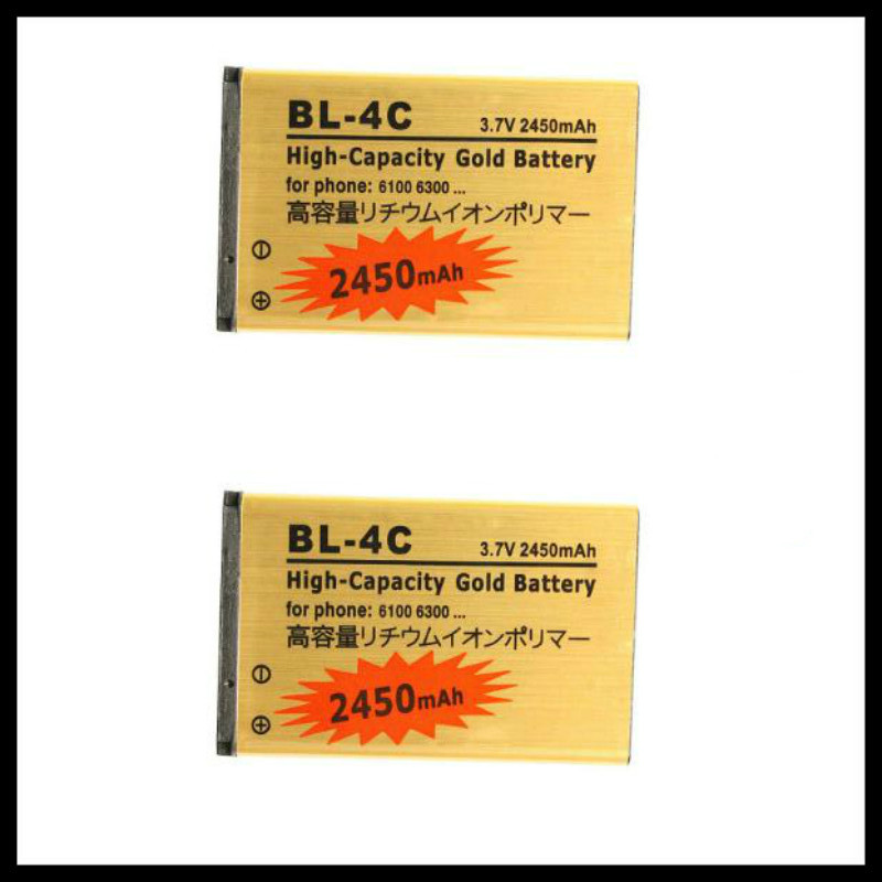 2pcs/lot High Capacity Golden BL-4C Mobile <font><b>phone</b></font> Battery for <font><b>Nokia</b></font> 6100 <font><b>6300</b></font> 6260 6125 6136S Battery 4C image