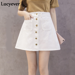 Image 4 - Lucyever Denim women mini skirt summer vintage high waist Korean single button pockets blue jeans A line ladies saia jupe femme