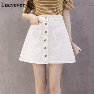 Image 4 - Lucyever ינס נשים מיני חצאית קיץ בציר גבוה מותן קוריאני יחיד כפתור כיסים כחול ג ינס אונליין משרד גבירותיי saia 2019