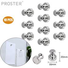 PROSTER 10 PCS Metal Push Pin Magnets Neodymium for Whiteboard Memo Board Refrigerator Metal Push Pin Magnets