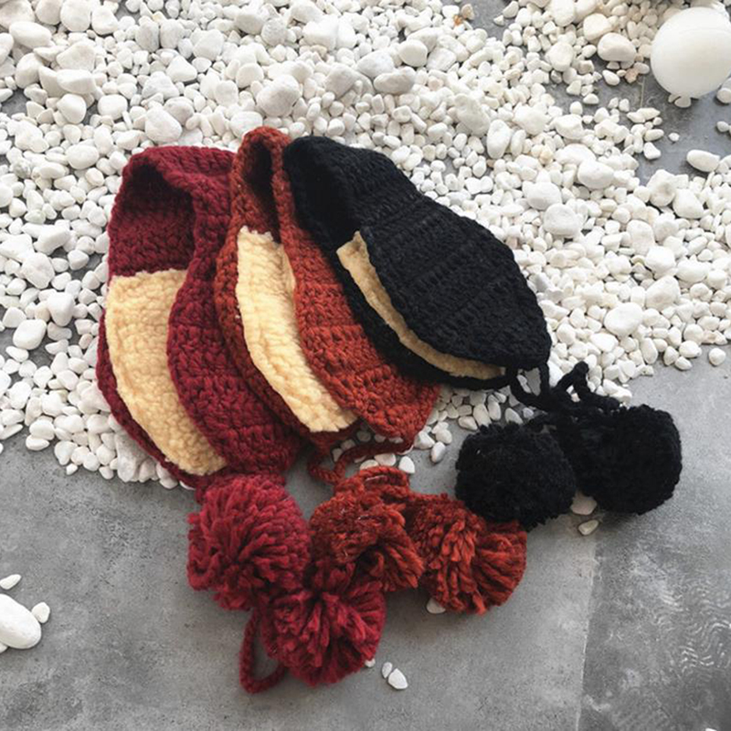Autumn Winter Vintage Wool Ear Covers Cute Warm Knit Girls Head Wear Accessories Solid Color With Ball Earmuffs