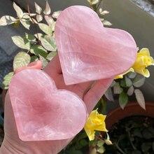 Новое поступление! Чаша Из Натурального Розового Кварца в форме сердца, розовая Подарочная кристаллическая фигурка чакра