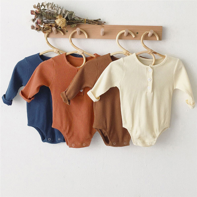 Newborn Baby Girl Boy Bodysuit Cotton Spring Summer One-Pieces Solid Jumpsuit Long Sleeve Outfits Spring Baby Sunsuit Clothing
