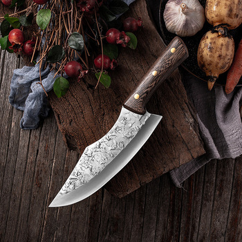 7.6inch Handmade Forged Kitchen Knife Butcher Meat Chopping Cleaver Chinese Chef Knife 5CR15 Stainless Steel Butcher Knife Chef Knife Chopper Home & Garden Home Garden & Appliance Kitchen Knives & Accessories Kitchen, Dining & Bar Meat Cleaver Multifunctional Knife Color: Butcher Knife