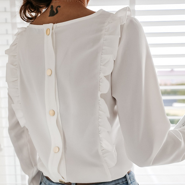 2021 Spring Autumn O Neck Ruffle Solid Shirts Elegant Office Lady Back Metal Buttons Blouses Casual Women Long Sleeve Chic Tops 5