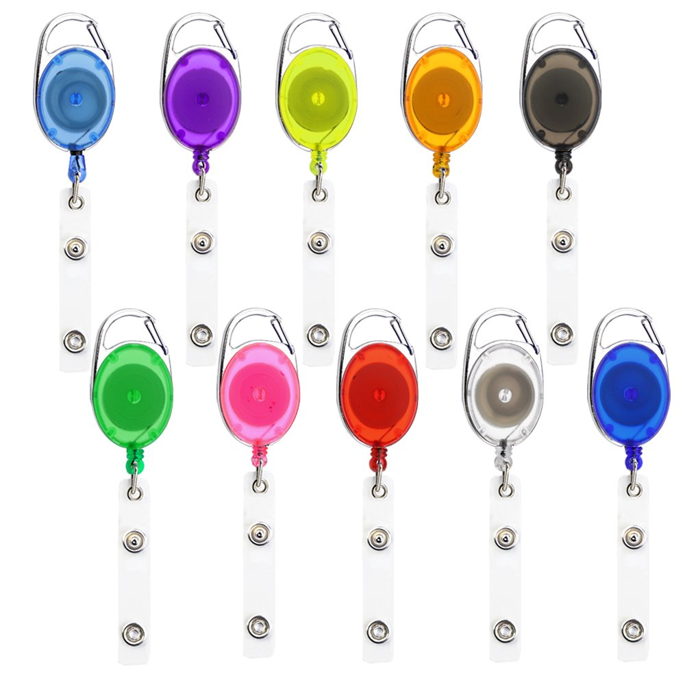 Retractable Badge Holder,10Pcs Vertical Style Clear Id Card Holders Badge Reel Clips In 10 Colors