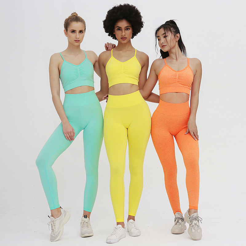 Women Colorful Yoga Suit Two Piece Set Running Gym Set Sports Bra Set Seamless Fitness Leggings Training Sports Suit Active Wear