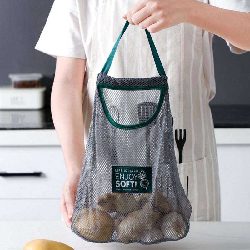 Kitchen Vegetable Mesh Storage Bags  Onion Potato Storage Hanging Bags Hollow Breathable Kitchen Garlic Ginger Mesh Bag