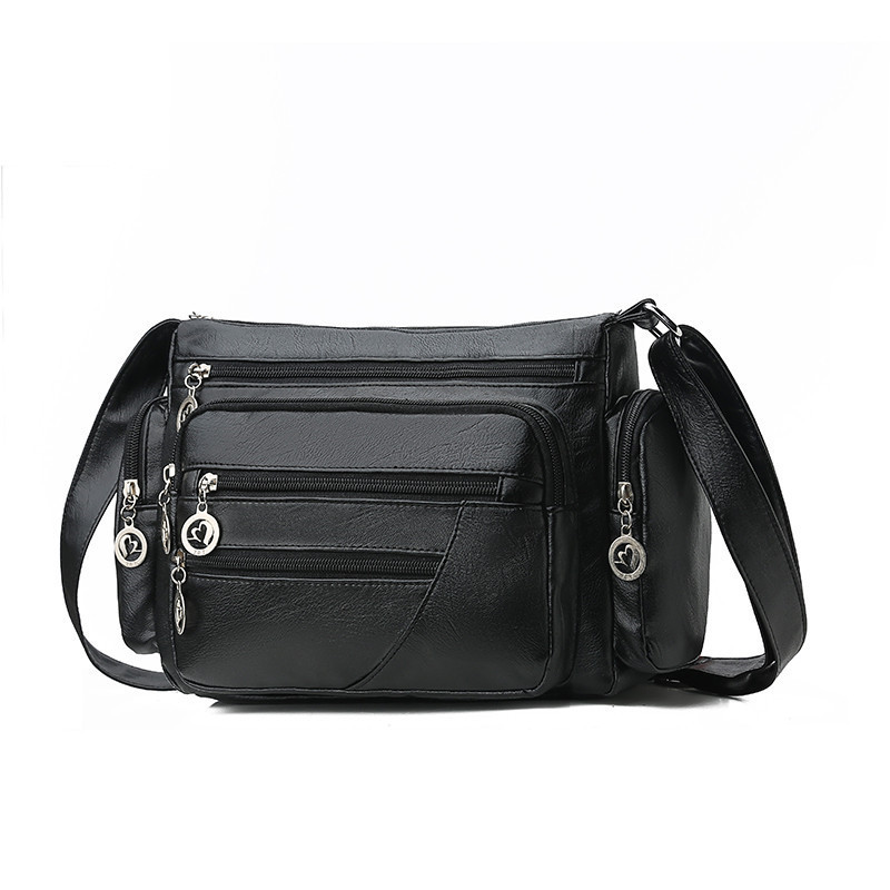 Convenient Multi pocket Female Shoulder Bag For Middle Aged Women Mommy Outdoor Handbags Soft PU Leather Crossbody Messenger Bag in Shoulder Bags from Luggage Bags