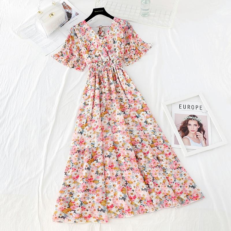 Summer Fairy Dress Women French Style Vintage Retro Chiffon Dress Short sleeve Casual Elegant Floral Print Dress Women 2021 New 33