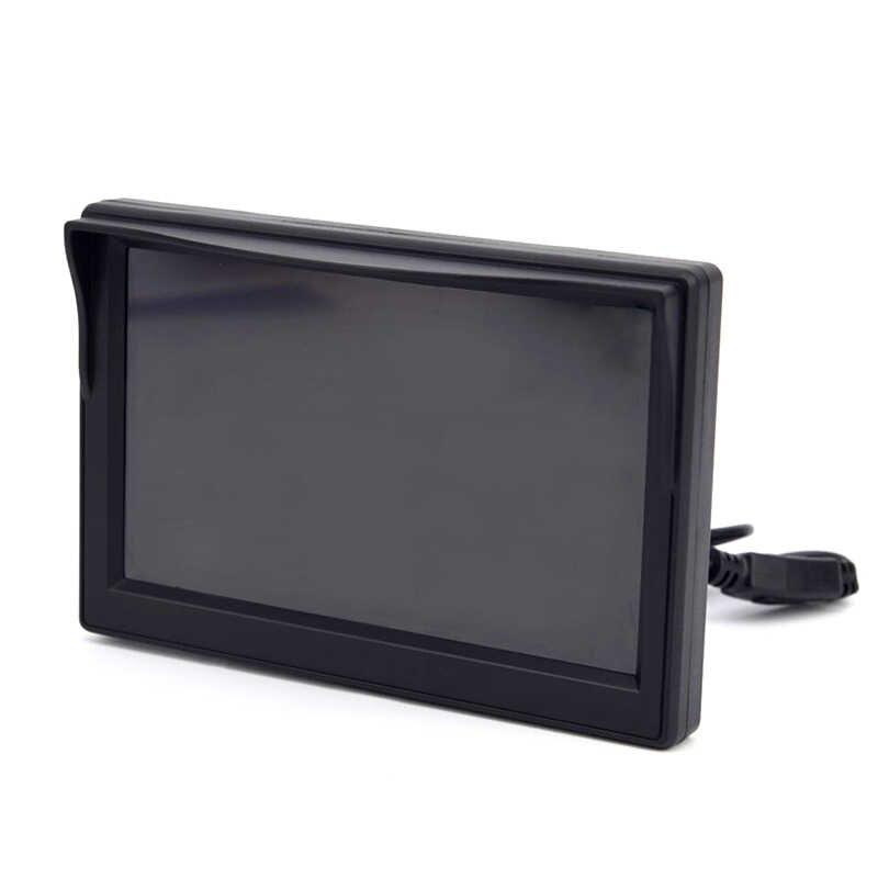 Alta Resolución 5 pulgadas TFT LCD Color del coche HD Monitor con ventosa cámara de marcha atrás del coche Monitor de seguridad para cámara de aparcamiento de respaldo reverso