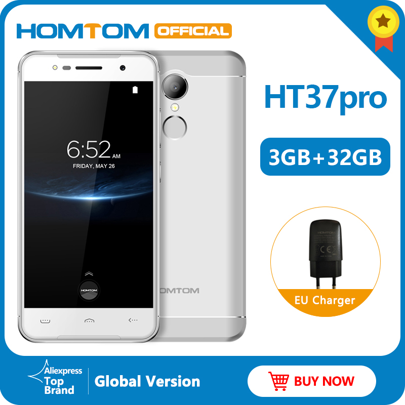 Original Version HOMTOM HT37 Pro 4G Smartphone MTK6737 5.0 Inch HD Android 7.0 3GB+32GB 13MP 3000mAh Fingerprint ID Mobile Phone
