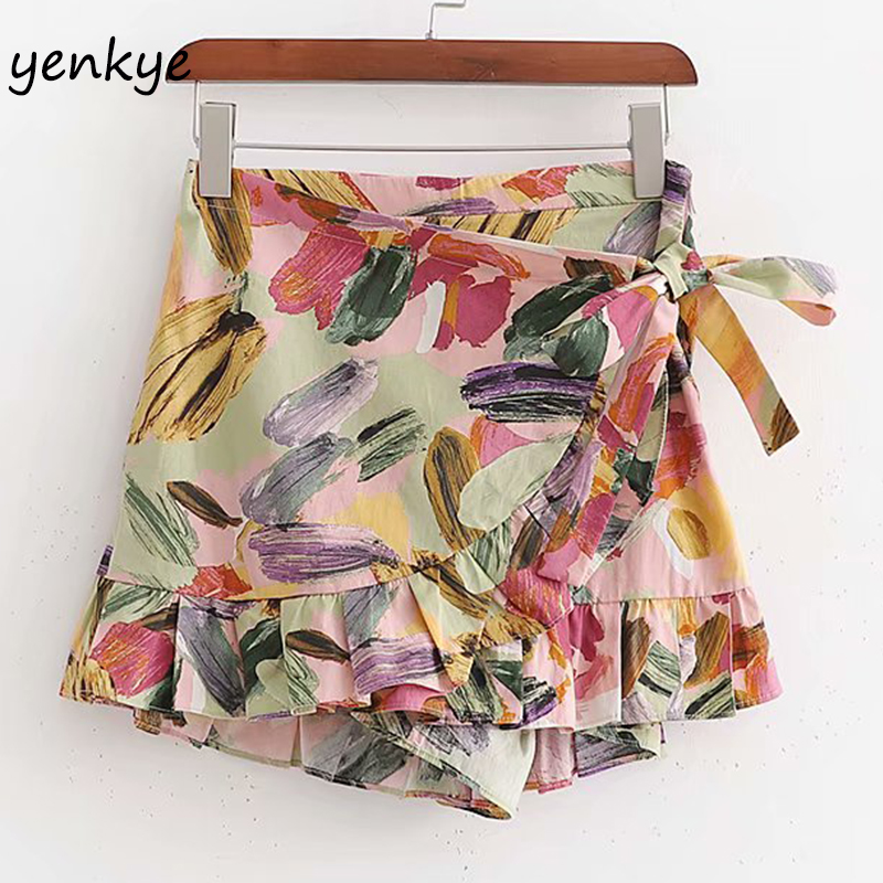 Multicolor Floral  Print Shorts Women Wrap-Style High Waist Holiday Boho Culottes Pantalones Cortos Mujer Summer Short Mujer