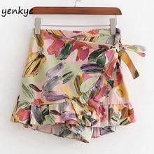 Pantalones cortos con estampado Floral Multicolor para mujer, Shorts bohemios de cintura alta, estilo envolvente, para vacaciones, Verano
