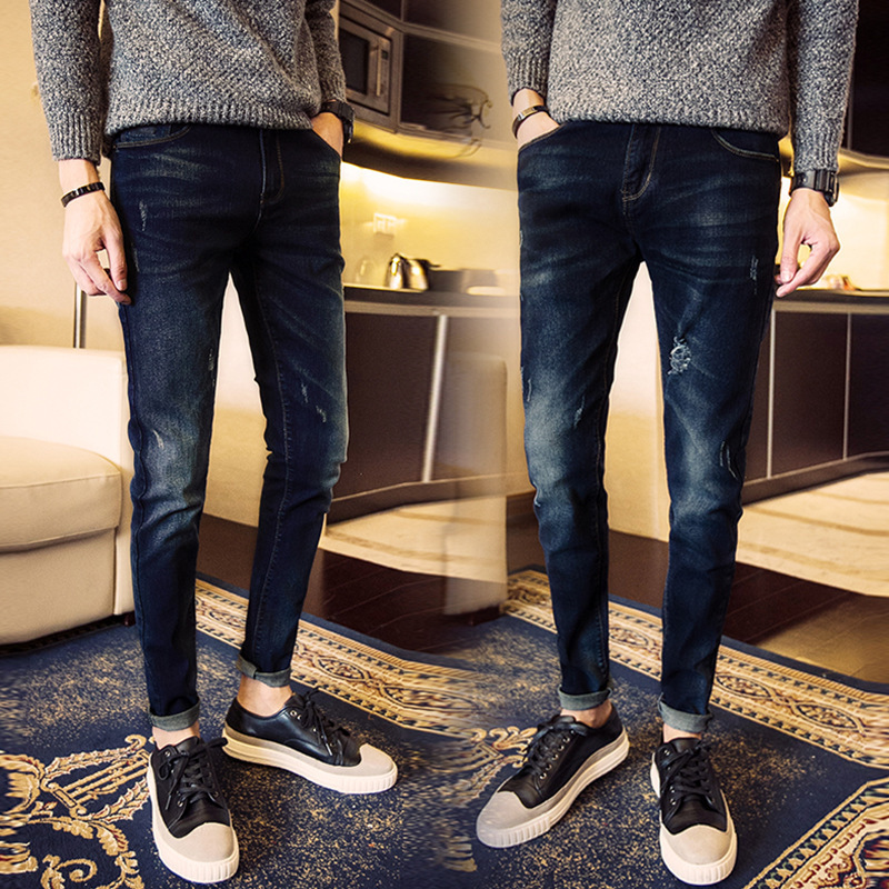 Spring And Autumn Fashion Man Elasticity Jeans Men's Korean-style Slim Women's Skinny Pants Youth Tight Trousers
