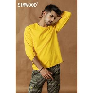 Image 2 - SIMWOOD 2020 אביב החורף חדש ארוך שרוול מוצק t חולצה גברים גלם רול hem חולצה מרקם איכות 100% כותנה חולצות SI980585