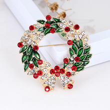 Women Crystal Rhinestone Round Garland Bell Brooch Wreath Brooches Pin Gift Fashion Vintage Elegance Cute Jewelry Accessories