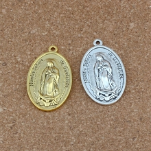 30pcs/lots Our Lady of Guadalupe DIVINO NINO Yo Reinare Charm Beads 26X44mm Antique Silver /gold pendant A-552