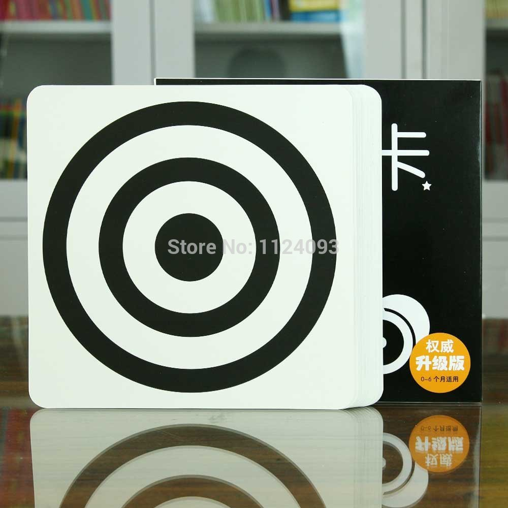 Baby Visual Excitation Cards  Black White Card Book With 40 Simple Pictures For Infant 0-6 Months ,size :21cm*21cm