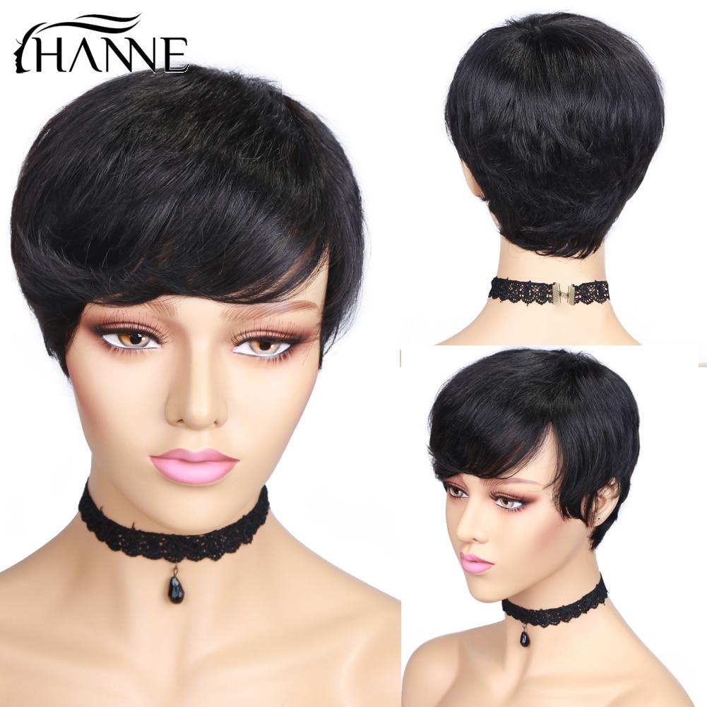 HANNE Hair Human Hair Wigs Pixie Cut Wigs Short Straight Brazilian Human Wig For Black Women Free Shipping