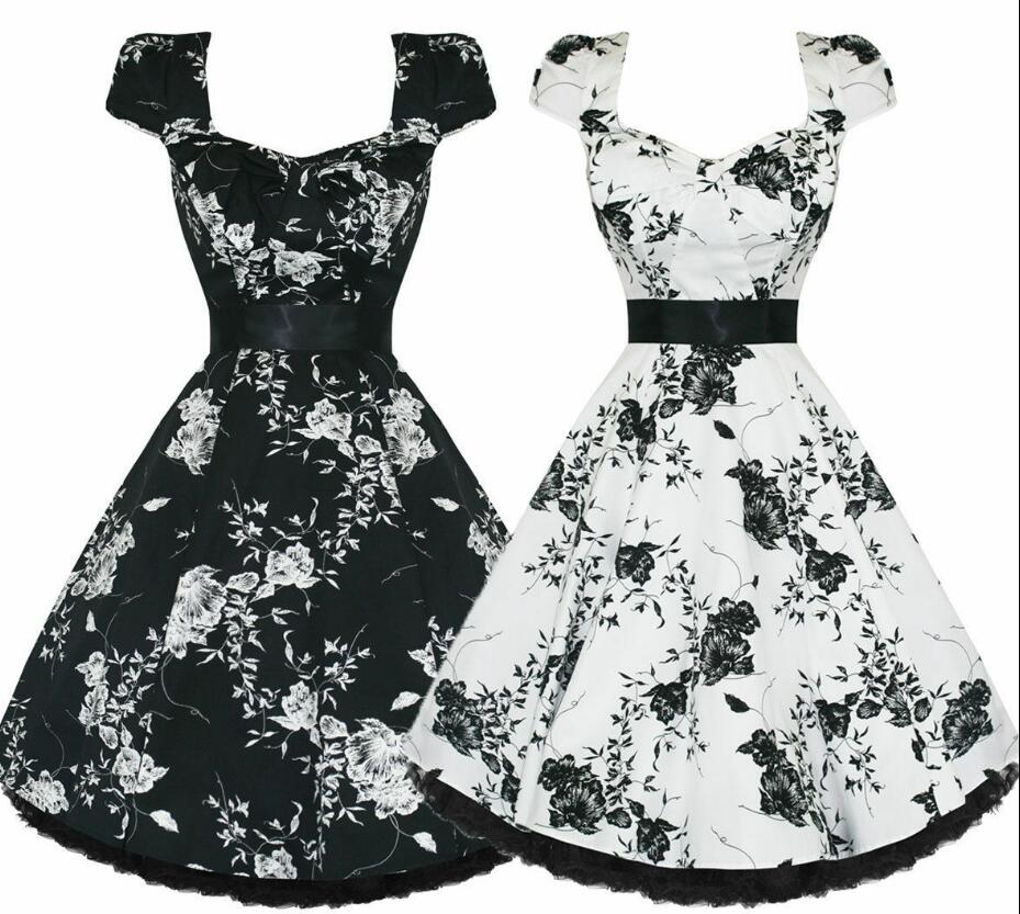 Summer <font><b>Dress</b></font> for women Floral Print Retro <font><b>Vintage</b></font> <font><b>1950s</b></font> <font><b>60s</b></font> Casual Party Cap sleeve Rockabilly <font><b>Dresses</b></font> Plus Size Vestido Mujer image