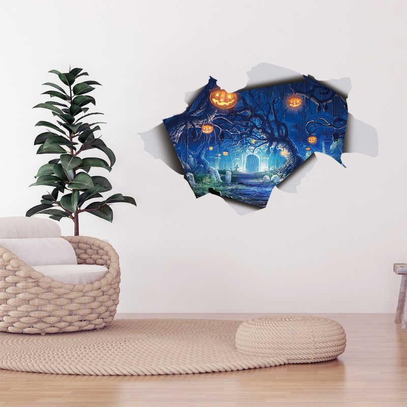 DIY مثيرة نافذة الطابق الجدار ملصق 3D هالوين اليقطين ضوء منظر غرفة المعيشة الديكور جدارية صائق المنزل الملصقات
