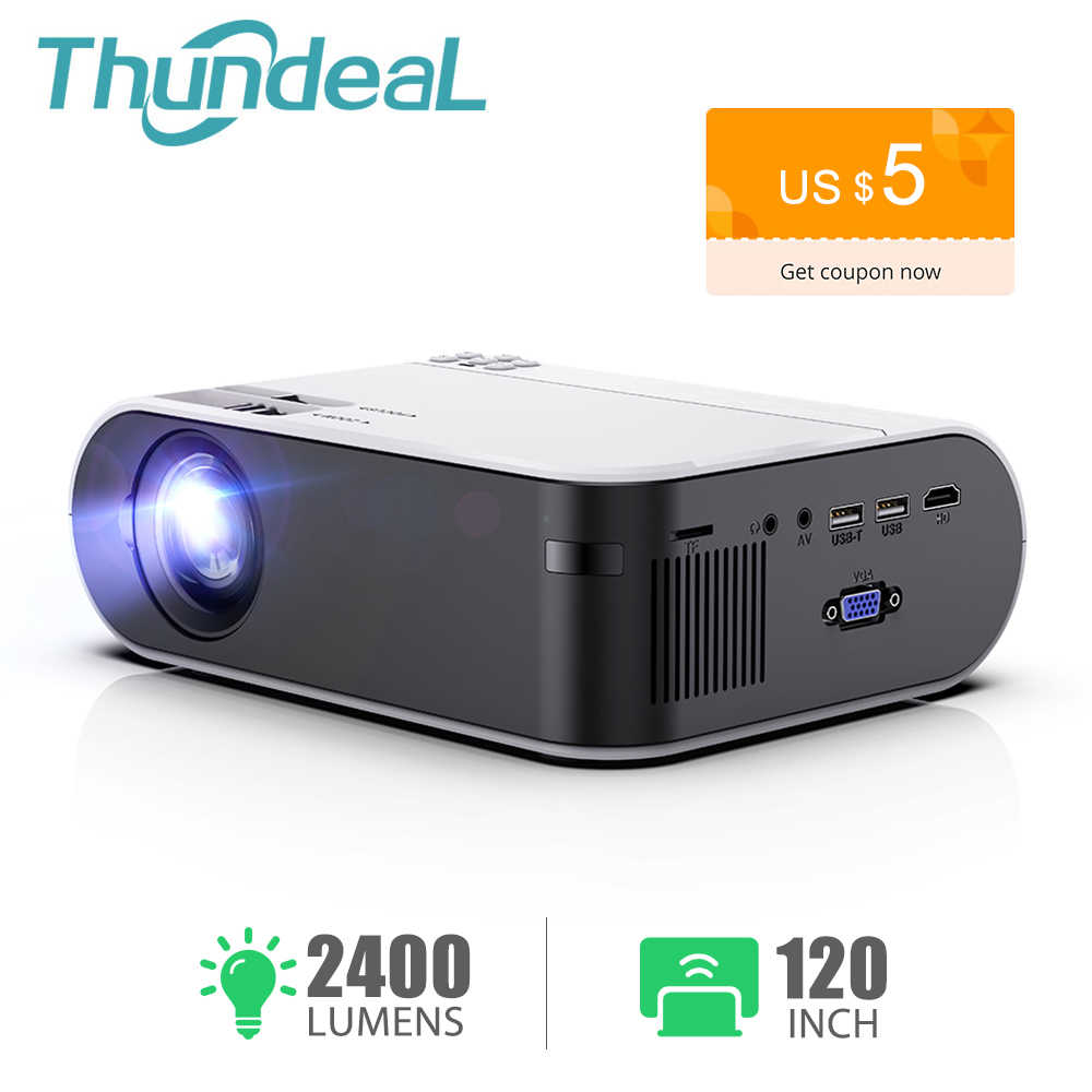 ThundeaL Mini projektör TD60 taşınabilir ev sineması 2400 lümen Smartphone Multiscreen Video 3D Beamer Android WiFi LED projektör