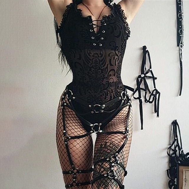 InsGoth Sexy Lace Bodycon Bodysuit Women Gothic Streetwear Mesh Hollow Out Patchwork Sleeveless Bodysuit Female Black Body Party 4