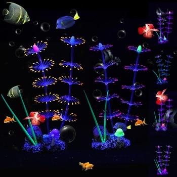 Silicone Glowing Artificial Fish Tank Aquarium Coral Plants Ornament Underwater Ornament Fish Tank Aquarium Decor Accessories D3 1pcs artificial silicone fish tank aquarium fake coral plant underwater aquatic sea anemone ornament decoration 6 colors