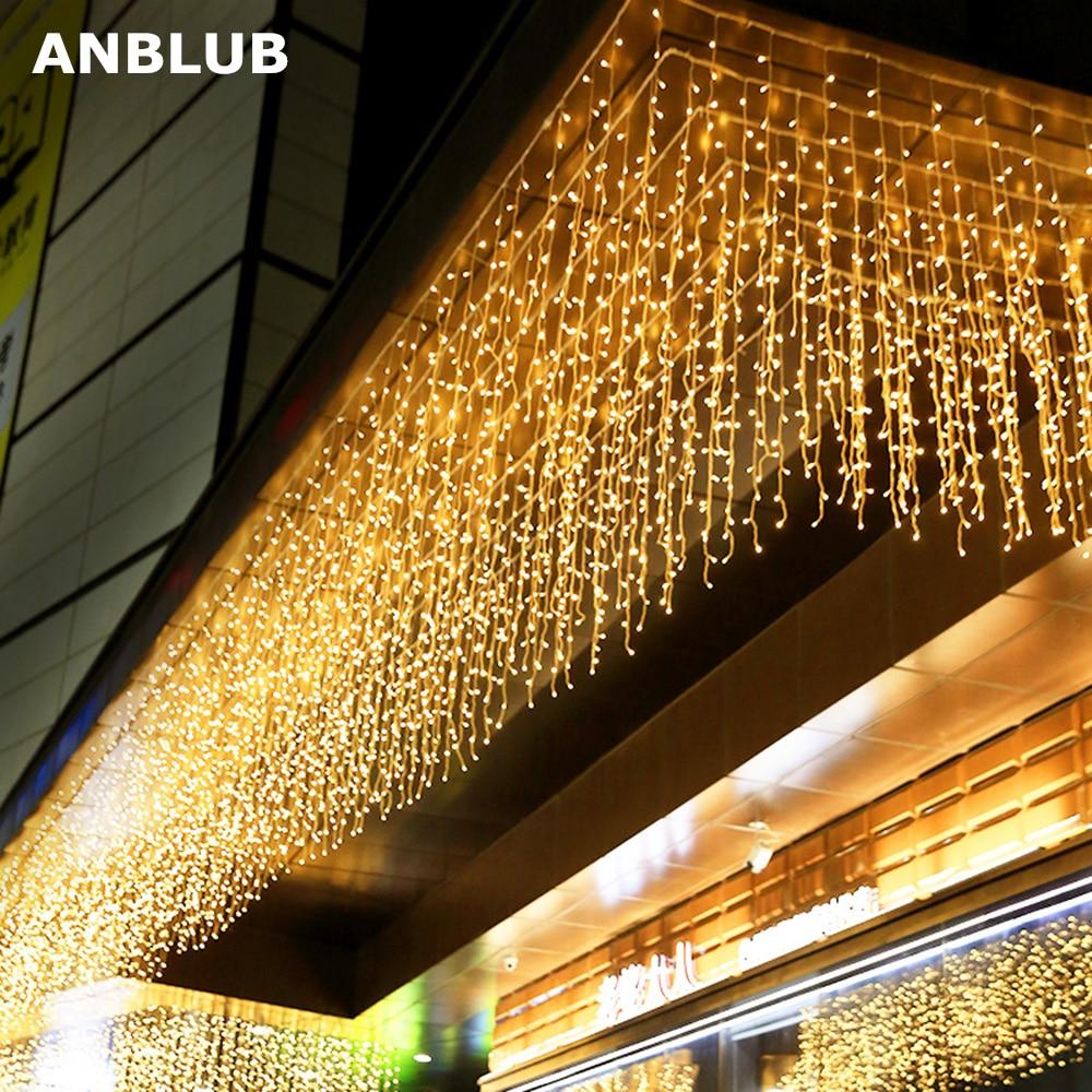 ANBLUB Новогодняя 4 м свисающая 0,4 0,6 м 96 Светодиодный занавес сосулька гирлянды для наружной рождественской мерцающей сказочной гирлянды EU/US вилка|Светодиодная лента|   | АлиЭкспресс