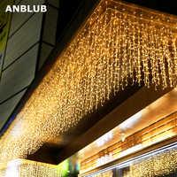 ANBLUB Año Nuevo 4m droop 0,4-0,6 m 96 LED cortina Icicle cadena luces para exterior Navidad brillo Hada guirnalda UE/EE. UU. Enchufe