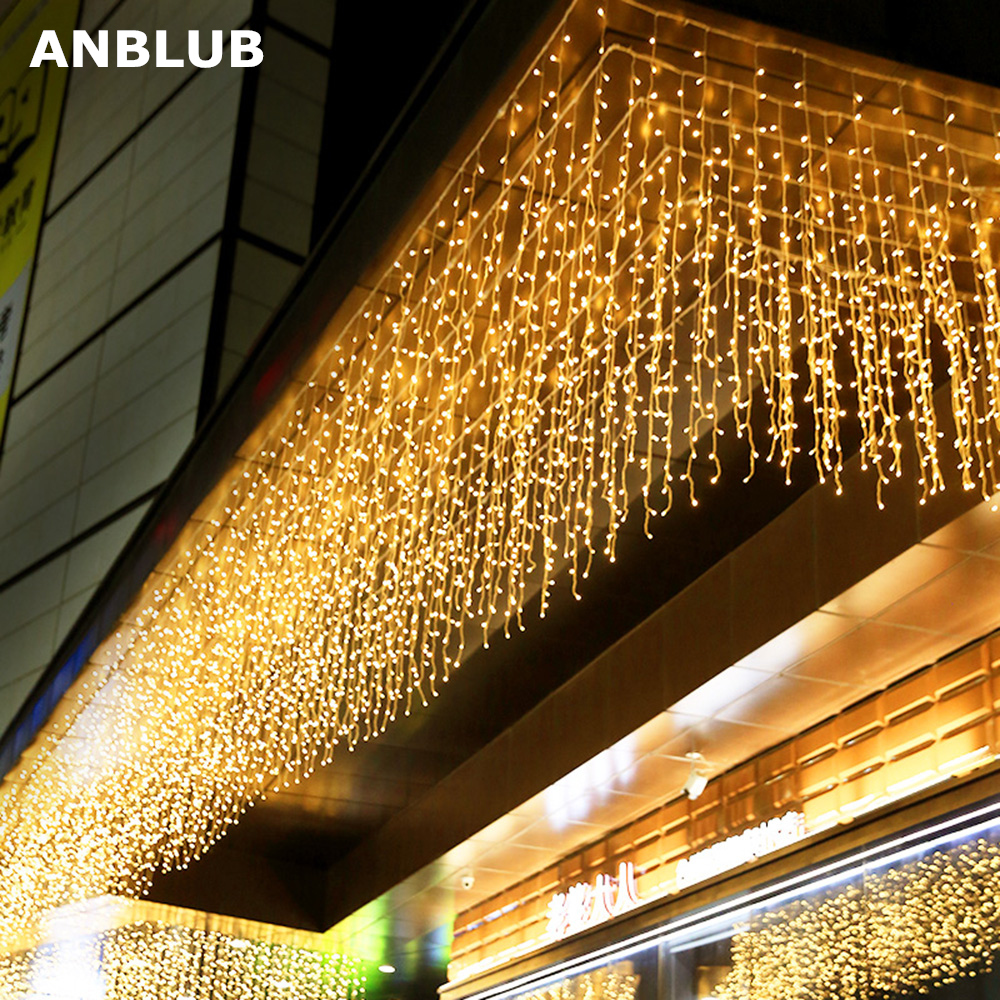 ANBLUB New Year 4m Droop 0.4-0.6m 96 LED Curtain Icicle String Lights For Outdoor Christmas Twinkle Fairy Garland EU/US Plug