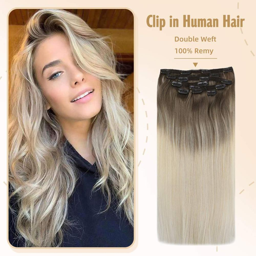 VeSunny Clip In Hair Extensions 100% Real Human Hair 7pcs Clip On Extensions Balayage Ombre Dark Brown Mix Blonde #14/60 120gr