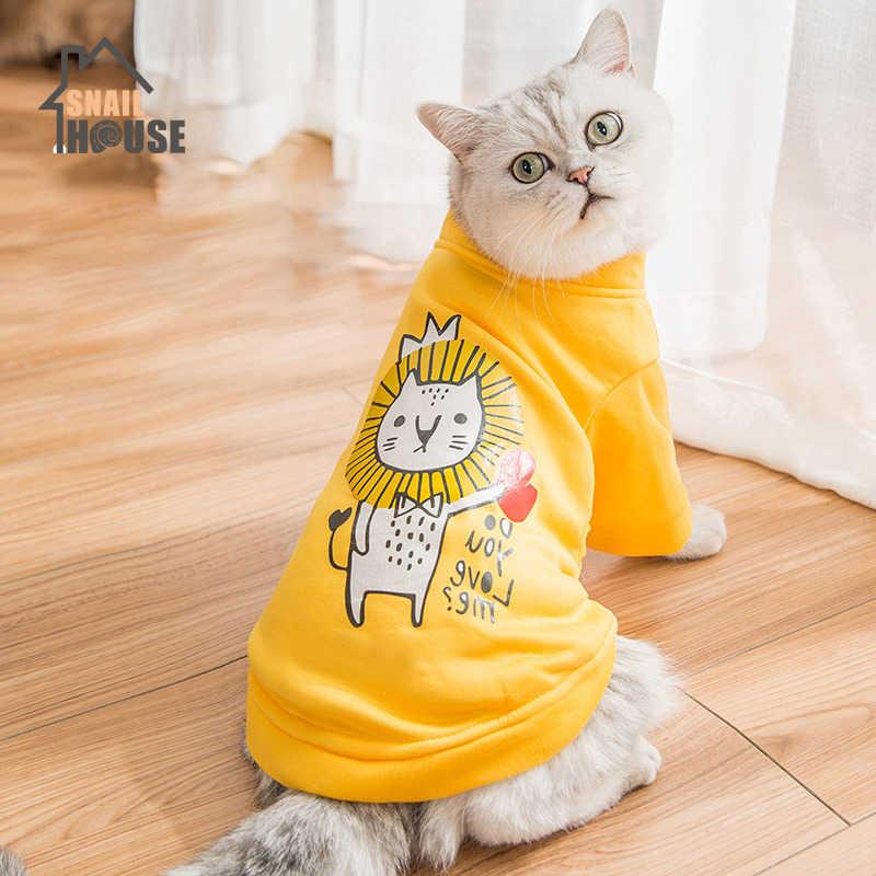 Snailhouse 새 고양이 옷 귀여운 인쇄 봄 가을 슬림 강아지 새끼 고양이 통기성 컴포트 스웨터 애완 동물 가을 운동복 의류