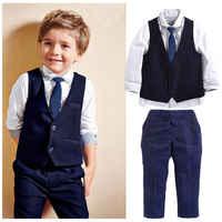 Trajes formales para bebés de 4 Uds. De 1 a 7 años, camisas blancas de manga larga para niños pequeños + chaqueta azul oscuro, chaleco, pantalones y corbata