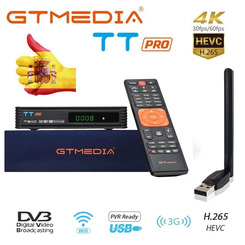GTMEDIA-receptor de TV TT Pro para DVB-T2/DVB-C, decodificador de TV con USB, HD, 1080p, sintonizador de TV, compatible con H.265 +, España, Polonia, Europa