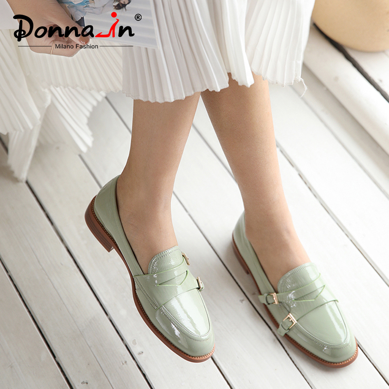 Donna-in Buckle Women Loafers Casual 2020 Spring Concise Genuine Leather Ladies Flat Shoes Low Heels Cozy Women Slip On Shoes