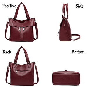 Image 4 - 2 Pc/s Women Leather Handbags High Quality Purses And Handbags 2019 Female Soft Leather Shoulder Bag Sac A Main Tote Bags Women