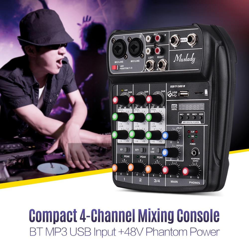 Muslady AI-4 Kompakte Soundkarte Mischen Konsole Digital Audio Mixer 4-Kanal BT MP3 Phantom Power für Musik Rekord DJ Karaoke