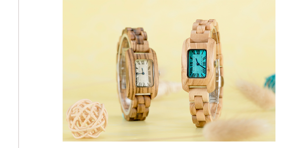 BOBO BIRD Ladies Antique Style Square Dial Wood Watch
