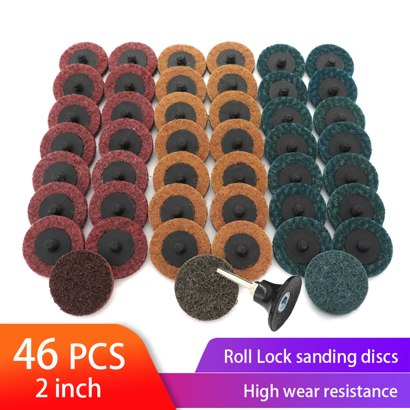 46PCS 2 Inch Sanding Discs Roll Lock Surface Conditioning Discs, R-Type Quick Change Disc With1 Disc Pad Holder