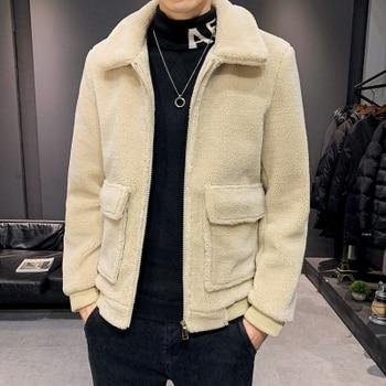 2019 winter men's jacket trend Korean winter loose lamb hair plus velvet padded coat men's functional jacket
