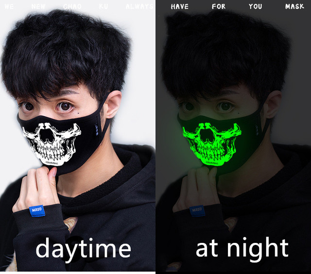 Luminous Funny Smile Expression Cotton Anti Dust Mouth Face Mask For Mouth Black Kpop Unisex Face Mouth Muffle Mask Fashion New 1