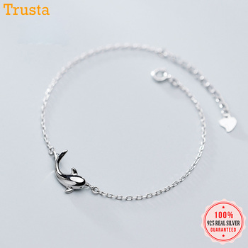 Trustdavis 100% 925 Real Sterling Silver Fashion Women's Jewelry Cute Dolphins Bracelet For Women Girl Lady Wedding Gift DT49