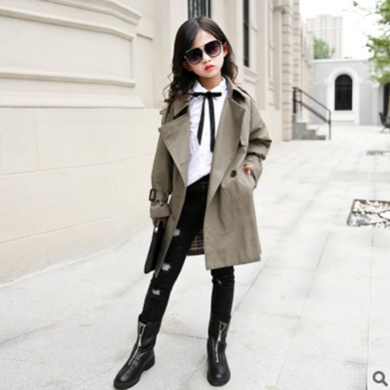 Girls Waist   Trench   Coat 2019 New Spring/Autumn Children's 2 Solil Colors Windbreaker Double-breasted Size110-160 Kids4-14 ly340