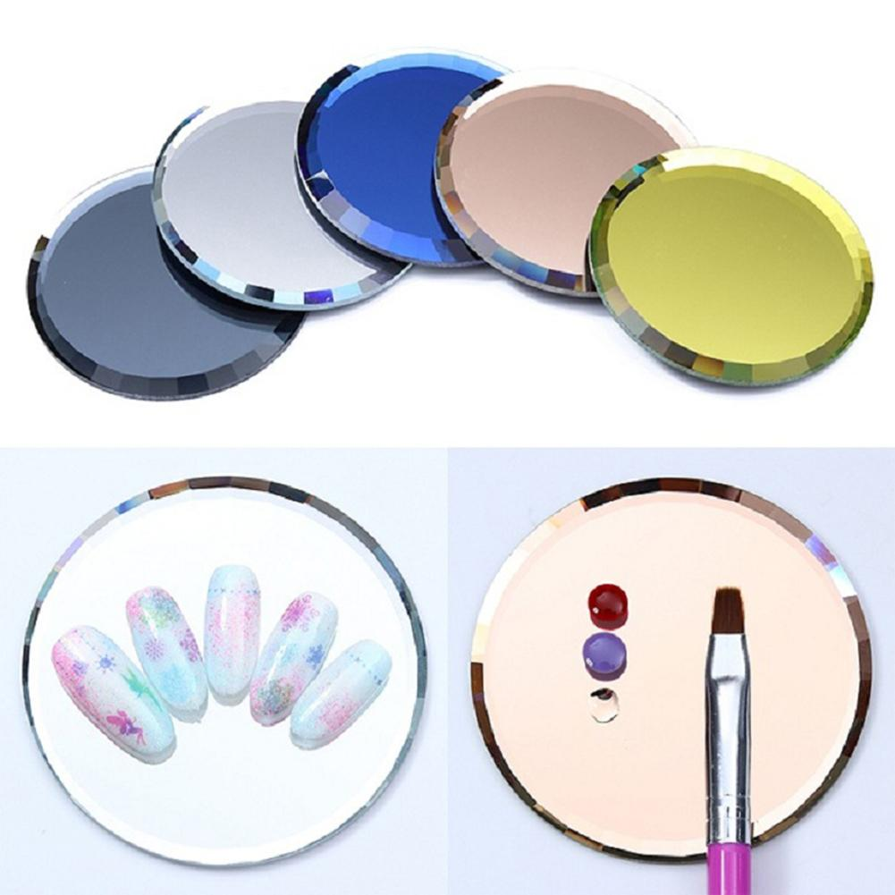 1pc Nail Art Color Paint Palette Holder Drawing Nail Art Color Palette False Tips Mirror Glass Display Board DIY Manicure Tool