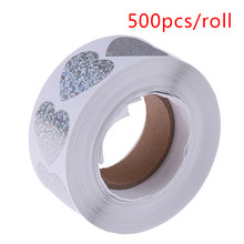 500 Pcs Laser Hart Briefpapier Stickers Ronde Papieren Stickers Scrapbooking Party Handgemaakte Seal Label Stickers(China)