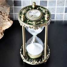 Vintage metal Inlaid crystal hourglass 30 minutes timer creative ornament home decoration